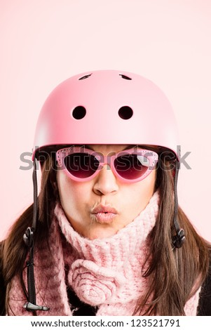 funny woman wearing cycling helmet portrait pink background real people high definition