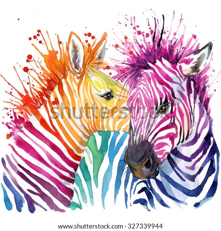 Funny zebra  T-shirt graphics, rainbow zebra illustration with splash watercolor textured background. illustration watercolor Funny zebra fashion print, poster for textiles, fashion design