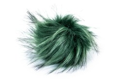 Fur ball isolated on white background. Green fur ball isolated