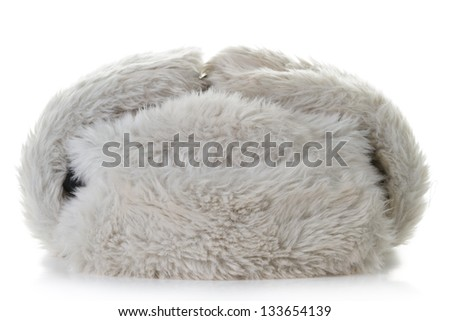 Fur hat isolated on white background - stock photo
