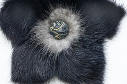Fur of a wild beast. Feminine decoration. it is a thick hairline covering the skin of many animals. This is a defining characteristic of mammals. It consists of a greasy guard hair at the top