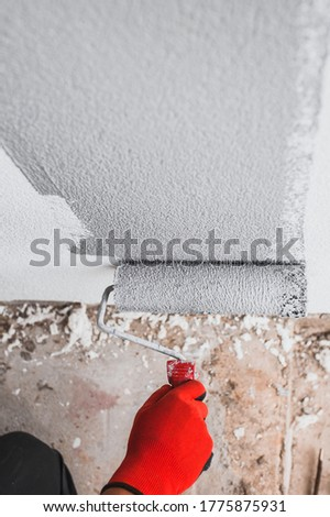 Fur roller with paint in the hand of the painter during work - painting the wall using decorative plaster