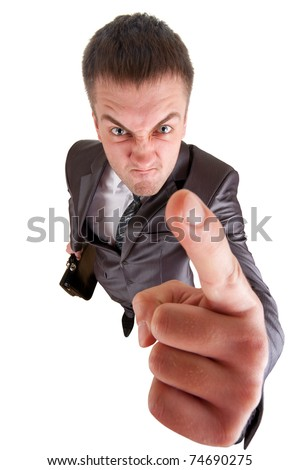 Furious business man. Isolated on white background