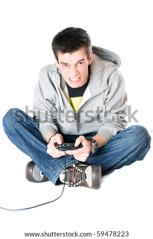 Furious guy with a joystick for game console. Isolated
