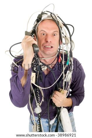 furious man tangled with electric cables phoning technology support