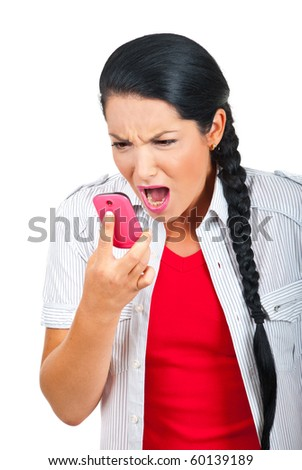 Furious woman screaming to her phone mobile  isolated on white background