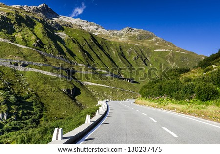 Furka Pass (elevation 2429 m.) is a high mountain pass in the Swiss Alps, Switzerland.