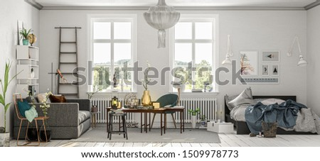 Furnished apartment with sofa, table and double bed (3d rendering)