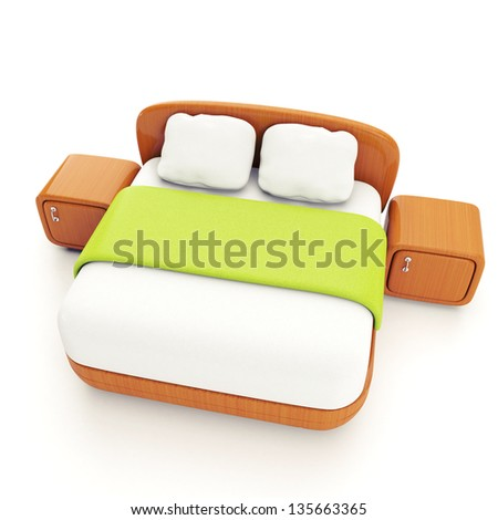 Furniture and home furnishings. 3d illustration of a double bed on a white background