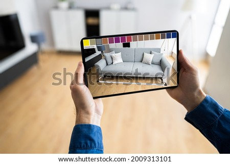 Furniture AR Smartphone Designer Application. Augmented Reality Sofa
