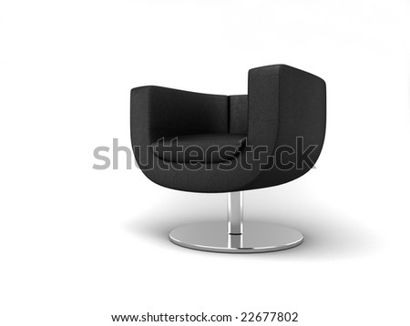 Furniture: armchair in black lather