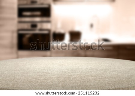 furniture blurry background of kitchen place and table with tablecloth