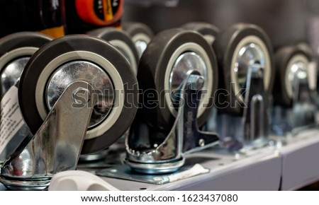 furniture: caster wheels (rubber wheel) at store Stockfoto ©