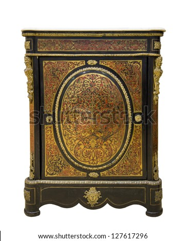 Furniture curbstone covered with a brass inlaid with nacre, 18 centuries #127617296