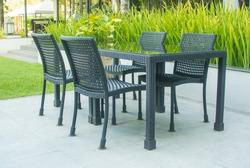 Furniture set in a garden