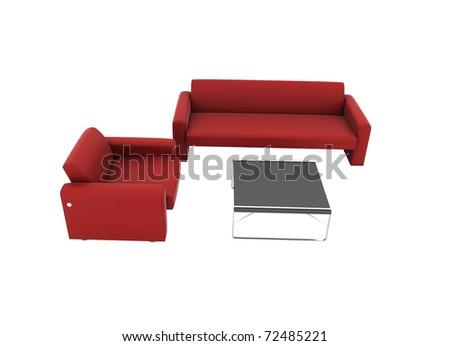 Furniture set isolated on white