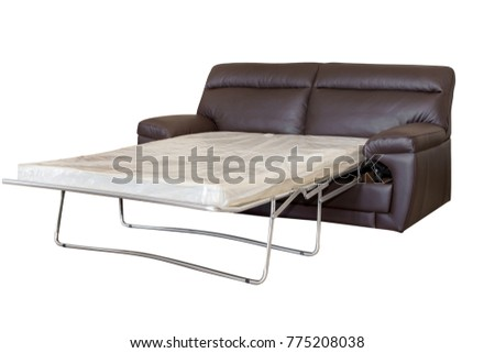 Furniture sofa bed isolated white backgroung leather #775208038