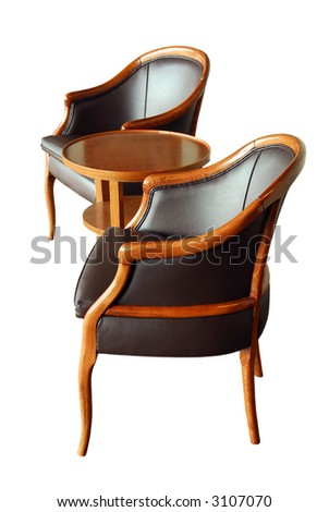 Furniture - two chairs and a coffee table - isolated on white background