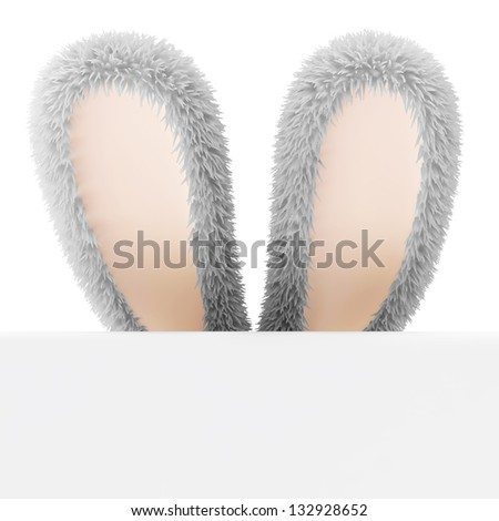 Furry Bunny Ears with Blank Board isolated on white background