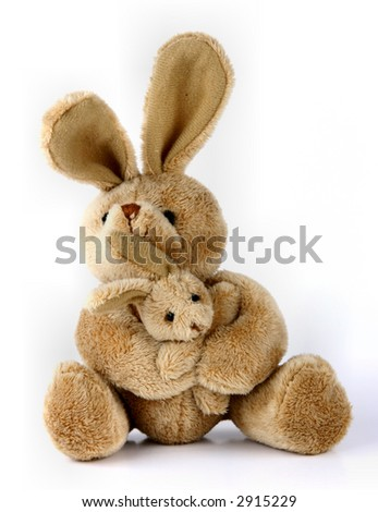Furry, cuddly, lovable little rabbit toys. - stock photo