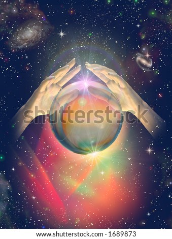 Furtune Teller's hands over a levitating crystal ball again a cosmic space background