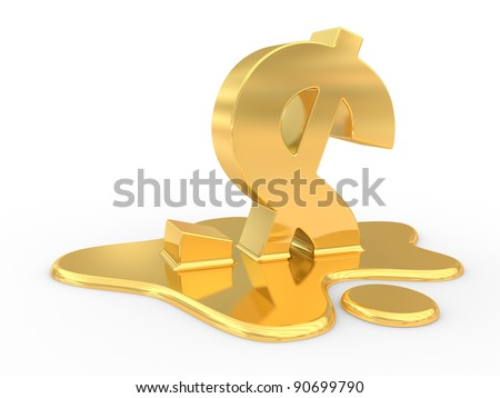 fused dollar sign. 3d illustration on a white background - stock photo