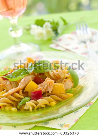 Fusilli pasta with chicken and vegetable. Selective focus