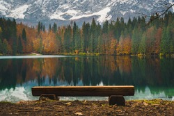 Fusine lakes in October, Tarvisio, Friuli Venezia Giulia region. Winter tourist attraction in Northern Italy
