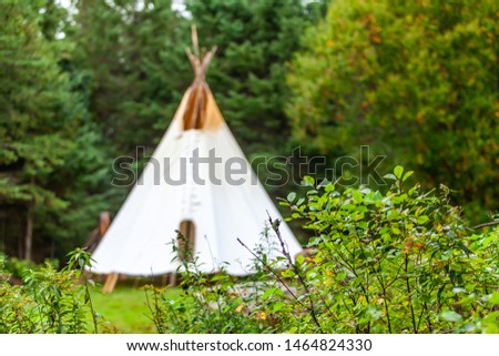 Fusion of cultural & modern music event. A tall blurry teepee tent is viewed in the background, behind fresh green foliage in a woodland campsite during a celebration of native cultures and traditions #1464824330