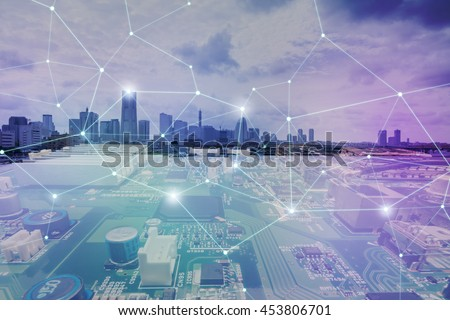 fusion of modern cityscape and electric circuit board, technological abstract image visual #453806701