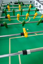 Fussball board game with no people shoot close up
