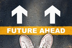 Future ahead words and white arrow with yellow line on asphalt road. Business development challenge concept and effort success idea
