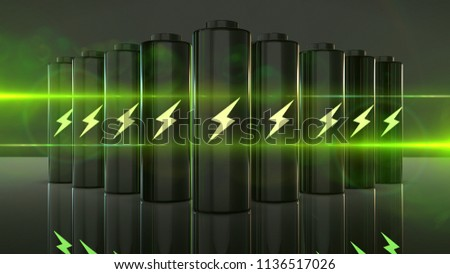 Future battery technology to run electric cars and mobile devices with clean energy 3D render graphic