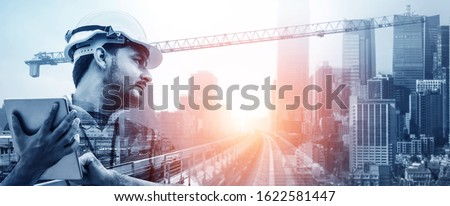 Future building construction engineering project concept with double exposure graphic design. Building engineer, architect people or construction worker working with modern civil equipment technology. ストックフォト ©