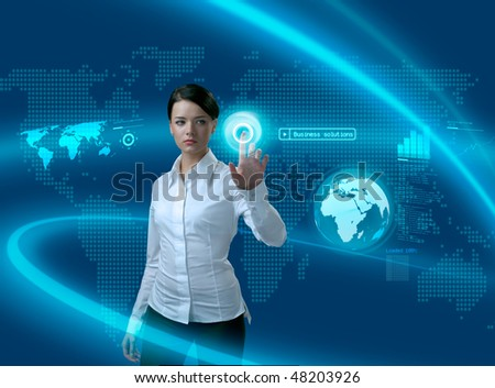 Future business solutions businesswoman in interface (outstanding business people in interiors / interfaces series)