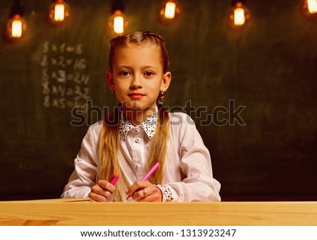 future businesswoman. future businesswoman study at school. future education for little businesswoman. future businesswoman at school lesson, copy space. Success #1313923247