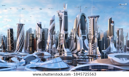 Future city 3D scene. Futuristic cityscape creative concept illustration with fantastic skyscrapers, towers, tall buildings, flying vehicles. Sci fi metropolis town panorama at sunny day background
