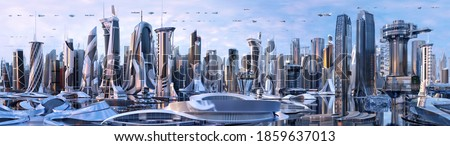 Future city skyline panorama 3D scene. Futuristic cityscape creative concept illustration: skyscrapers, towers, tall buildings, flying vehicles. Panoramic urban view of megapolis town, sky background