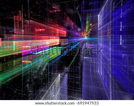 Future city street - abstract computer-generated image. Fractal art - glass walls directed towards the horizon. Colourful technology, sci fi or high tech concept background.
