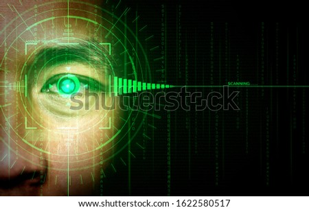 Future cyber security data protection by biometrics scanning with human eye to unlock and give access to private digital data. Futuristic technology innovation concept.