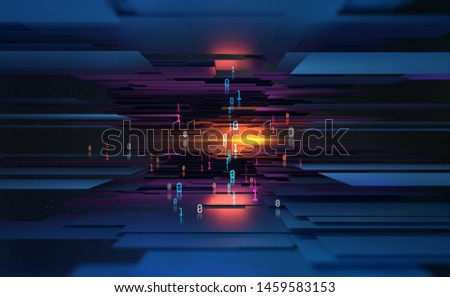 Future digital city concept. Blockchain technology. Abstract information network in global cyberspace. 3D illustration of data blocks in a cloud database. Computer binary code