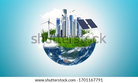 Future earth concept, clean earth with green areas, windmill, solar cells and industrial buildings, sustainable development