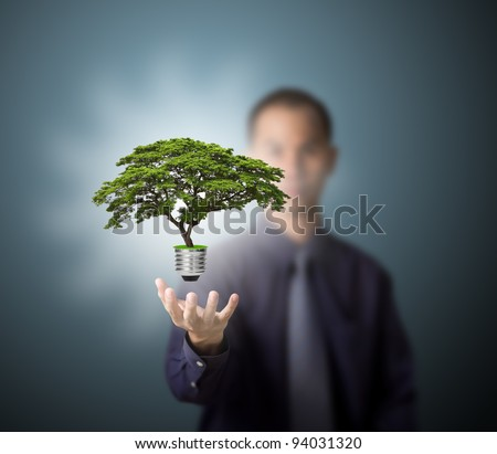 future eco - green energy concept, light bulb of tree in man hand