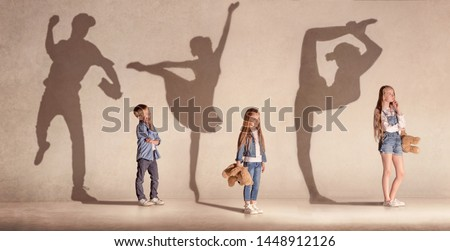 Future famous champions. Childhood and dream concept. Conceptual image with boy and girls dreaming about big future in sport, ballet and gymnastic. Creative collage made of photos of 3 kids.