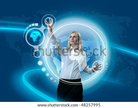 Future Globe Interface Navigating By Attractive Blonde (outstanding business people in interiors / interfaces series)