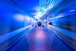 Future image of escalator at night