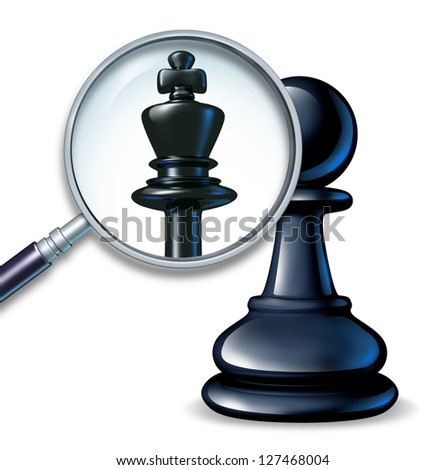 Future leader business concept with a chess game pawn and a magnifying glass showing a change to a king figure as a symbol of a rise to success and career promotion for greatness.