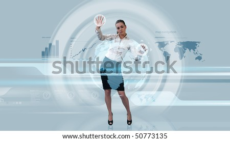 Future levitation (Attractive young adults in futuristic interfaces / interiors series)