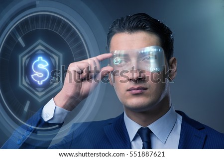 Stock Photo Future of currency trading with businessman