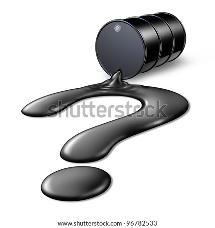 Future of Oil and gas prices questions on the value of a barrel of crude with a fuel spill in the shape of a question mark as an icon of the prediction of energy and the global petroleum industry.